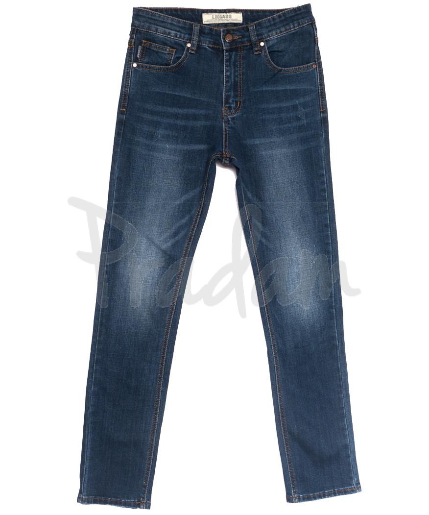 0651-В Likgass джинсы мужские молодежные с царапками синие весенние стрейчевые (28-36, 8 ед.)