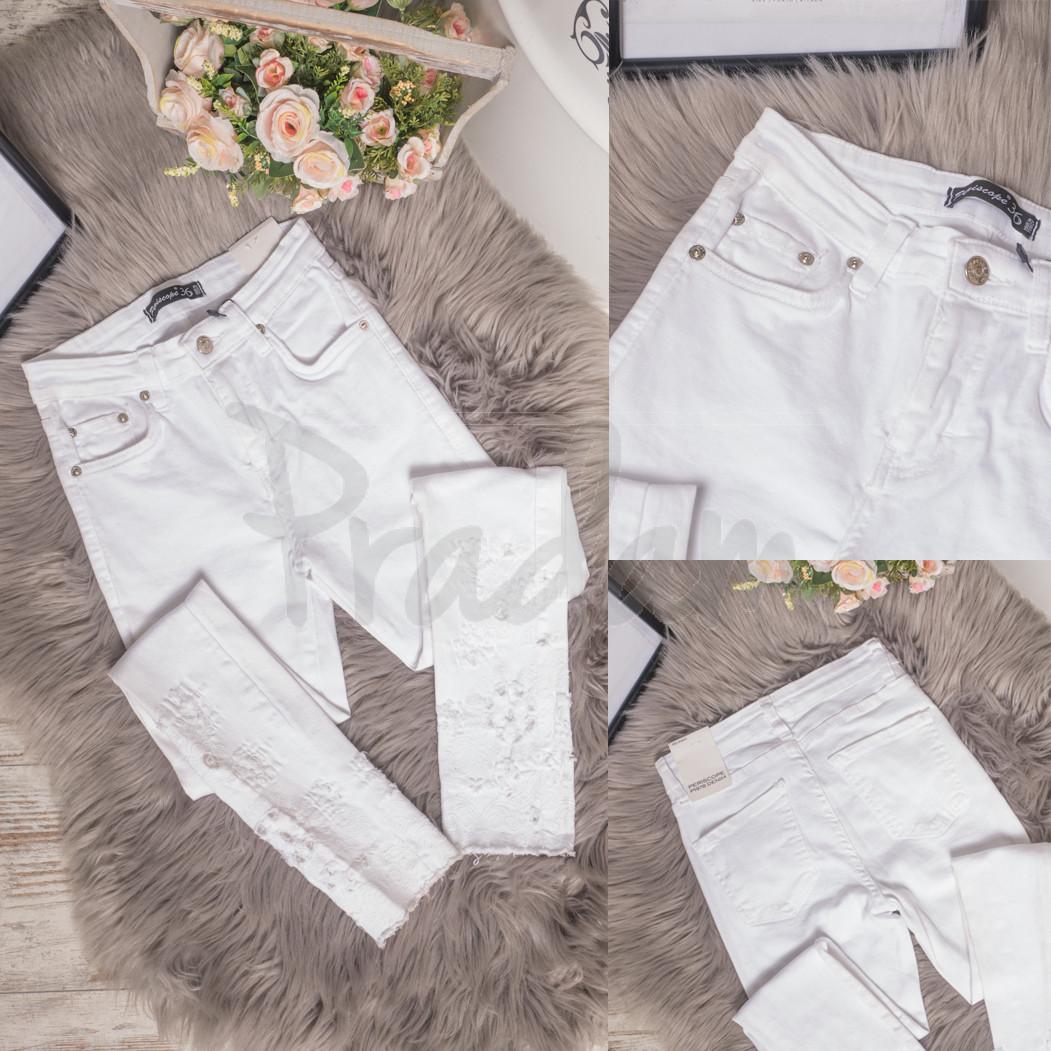 0423 Periscope джинсы женские белые с декоративной отделкой летние стрейчевые (36-42, евро, 8 ед.)