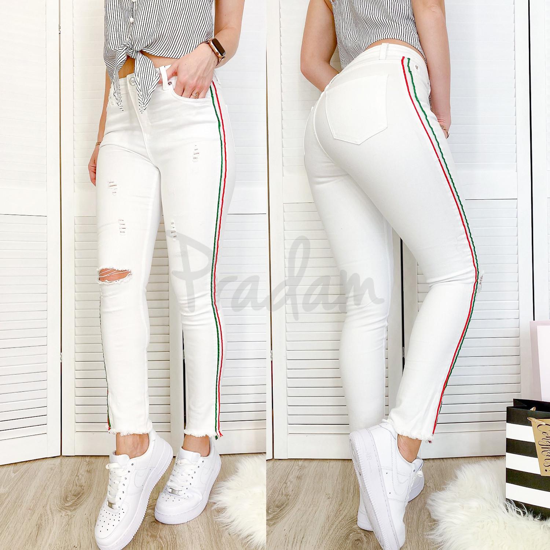 0433 Periscope джинсы женские белые с декоративной отделкой летние стрейчевые (36-42, евро, 8 ед.)