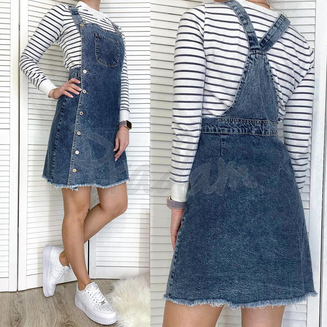 2956 Xray сарафан джинсовый на пуговицах синий весенний коттоновый  (34-40,евро, 6 ед.)