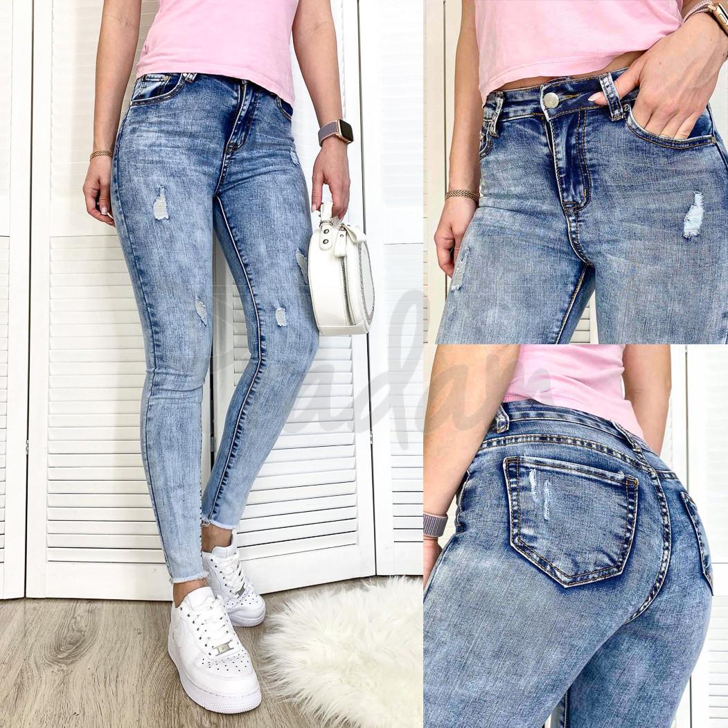 3601 New jeans американка голубая с царапками весенняя стрейчевая (25-30, 6 ед.)