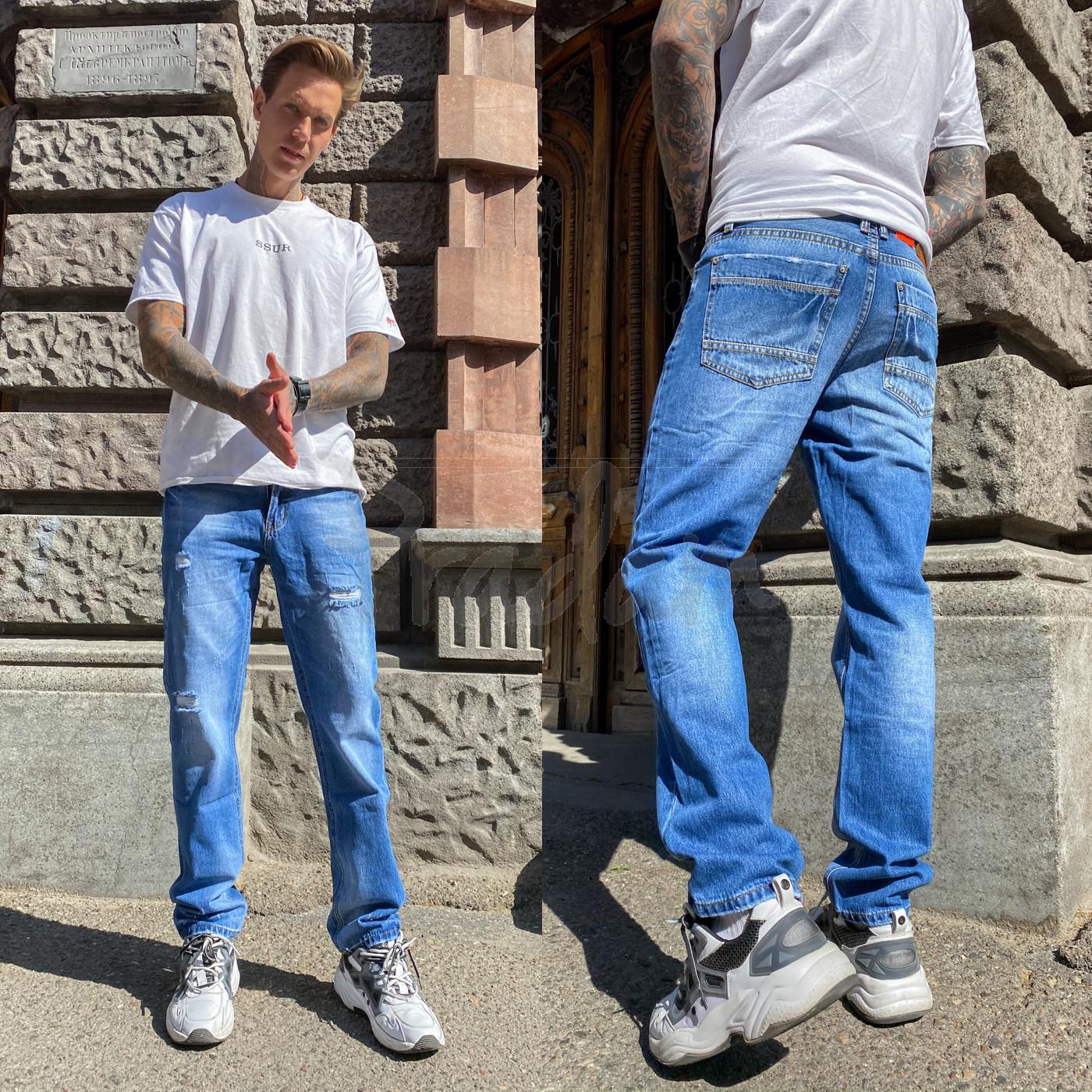 9903-3 R Relucky джинсы мужские с царапками синие весенние стрейчевые (29-38, 8 ед.)
