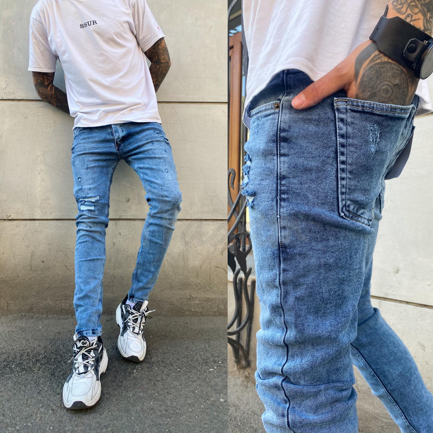 0600 Fashion Mario джинсы мужские с рванкой синие весенние стрейчевые (29-36, 8 ед.)