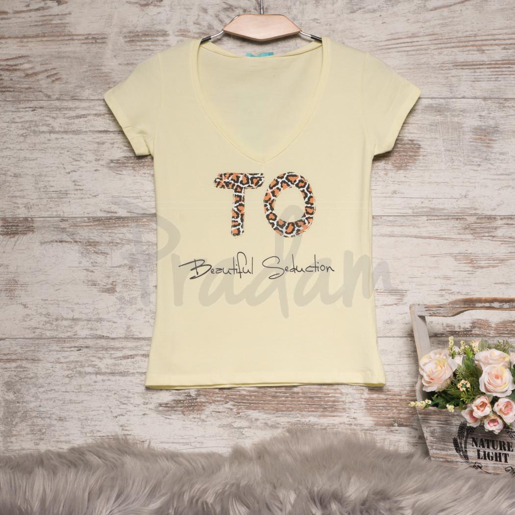 0122-01 желтая MMC футболка женская с принтом стрейчевая (S, 1 ед.)