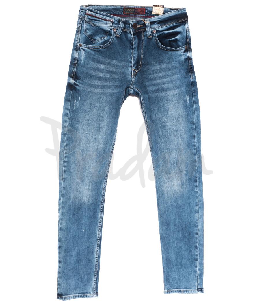 6795 Corcix джинсы мужские с царапками синие весенние стрейчевые (29-36, 8 ед.)