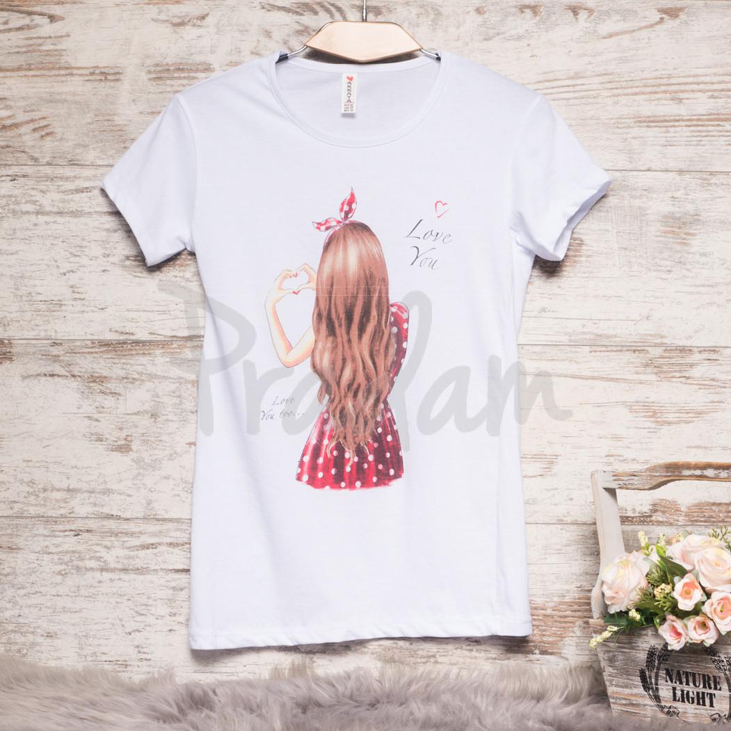 Белая женская футболка с принтом Akkaya 3206-3