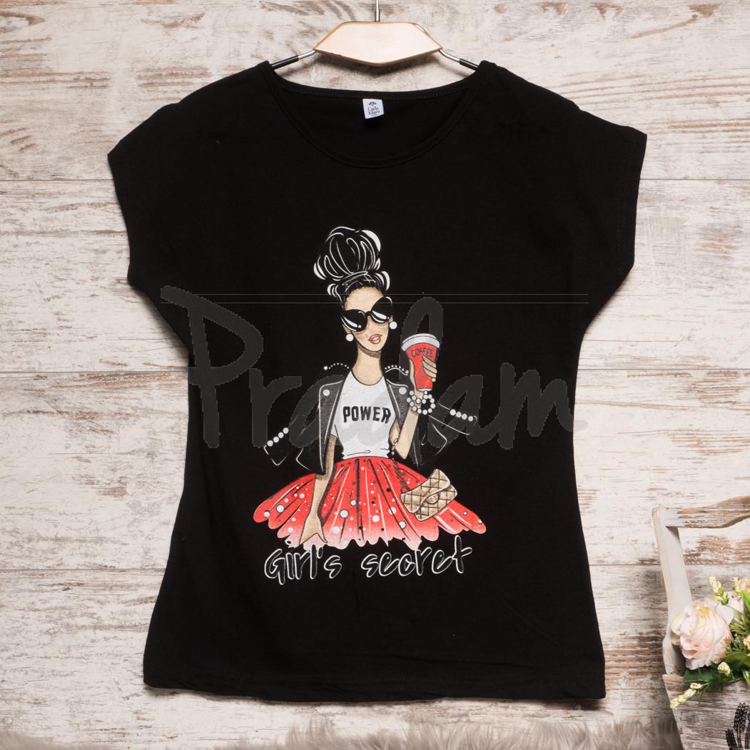Черная женская футболка с принтом Carla Mara 3209-2