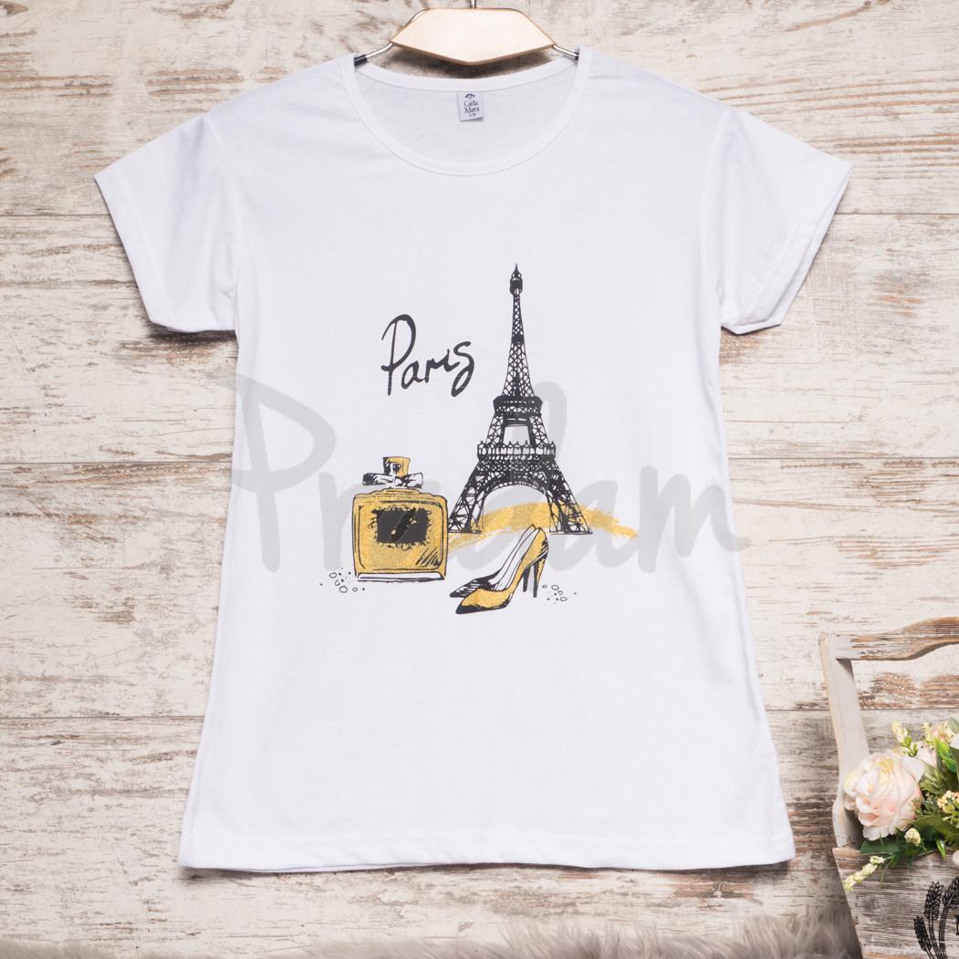 Белая женская футболка с принтом Carla Mara 3212-3