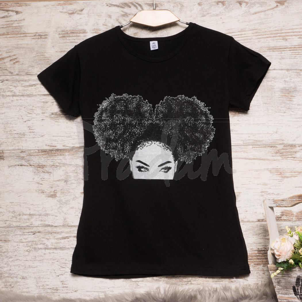 Черная женская футболка с принтом Carla Mara 3207-4