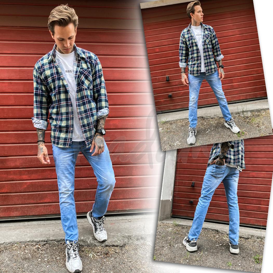 2336-01 Dark Blue джинсы мужские зауженные осенние стрейчевые (29,30,31,32, 4 ед.)