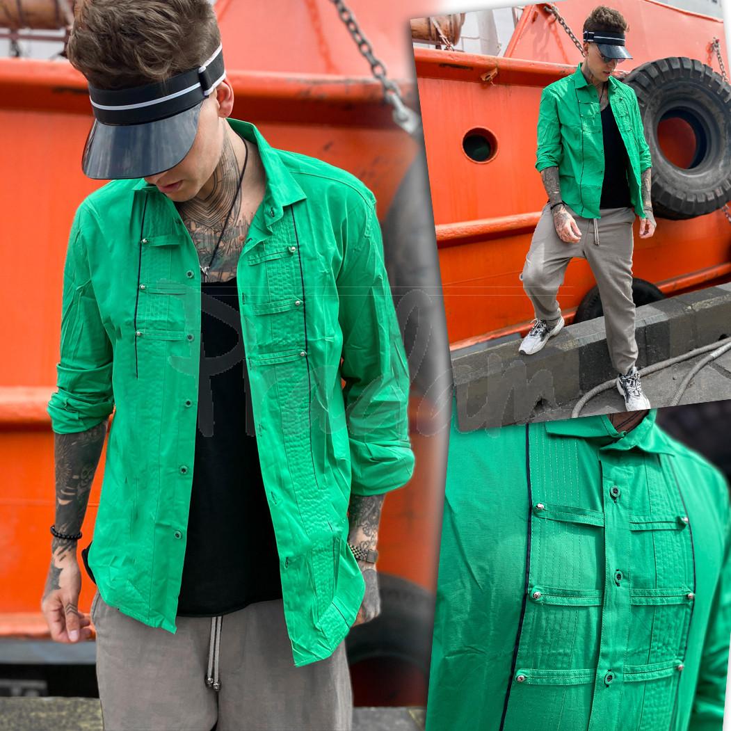 7079 Noseda рубашка мужская зеленая (S-XXL, 5 ед.)