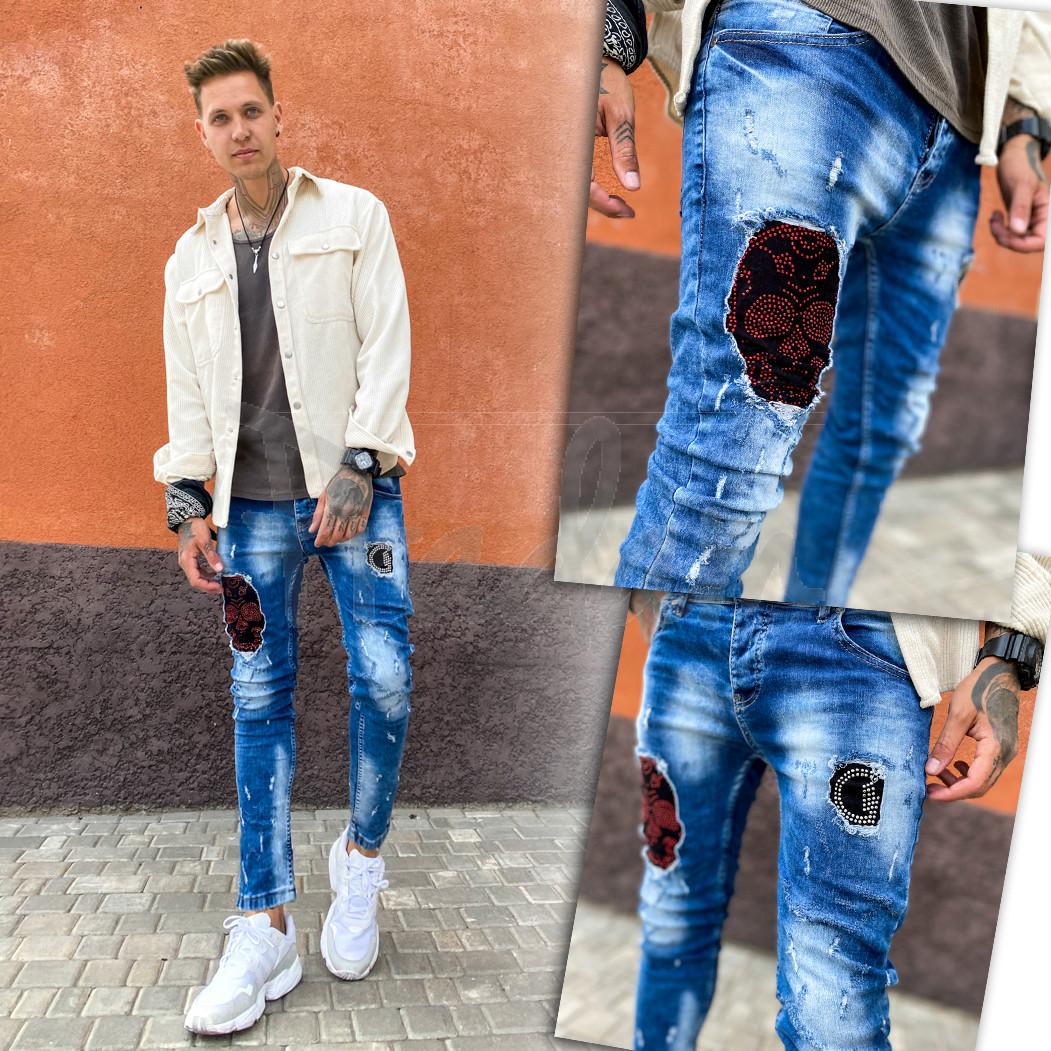 6088 Charj джинсы мужские с декоративной отделкой и стразами весенние стрейчевые (29-36, 8 ед.)
