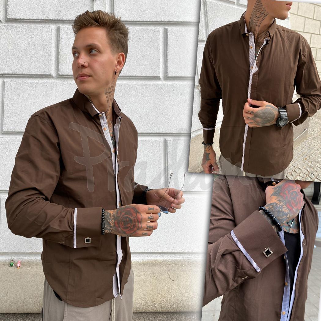 Коричневая мужская рубашка Afish 2978-1