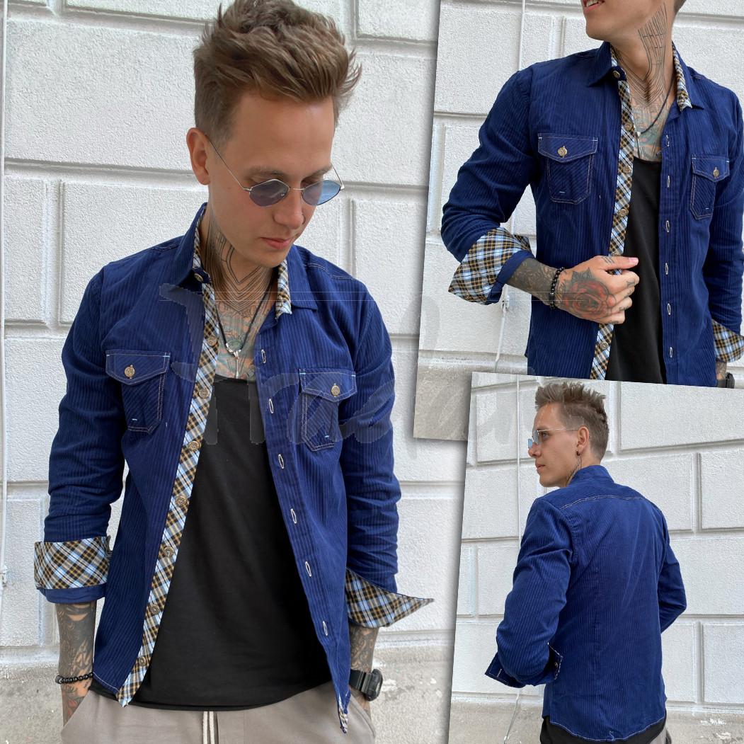 Вельветовая синяя мужская рубашка YXC 0406-4