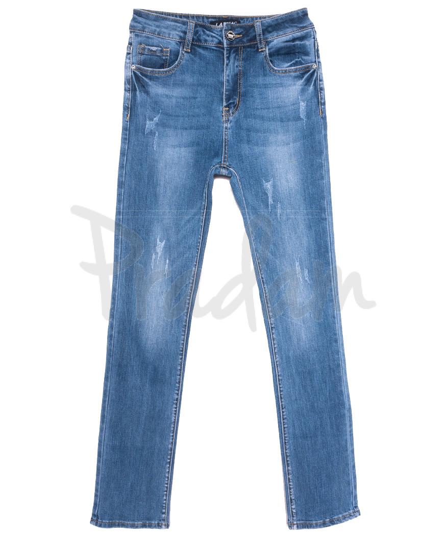 1573 Lady N джинсы женские полубатальные с царапками синие весенние стрейчевые (28-33, 6 ед.)