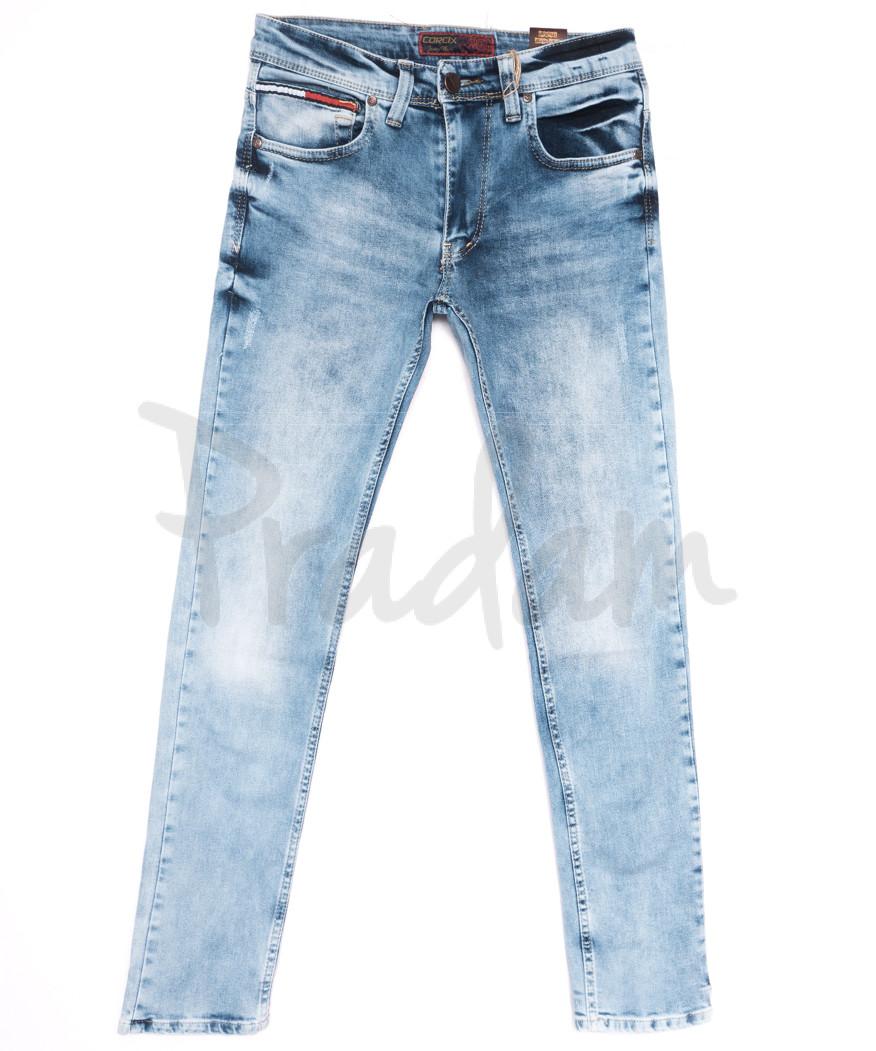 6851 Corcix джинсы мужские c царапками синие весенние стрейчевые (29-36, 8 ед.)