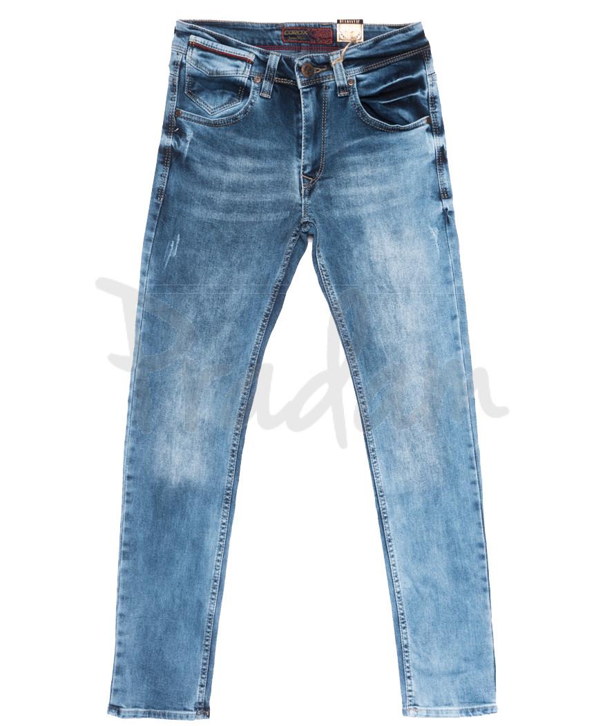6795 Corcix джинсы мужские c царапками синие весенние стрейчевые (29-36, 8 ед.)