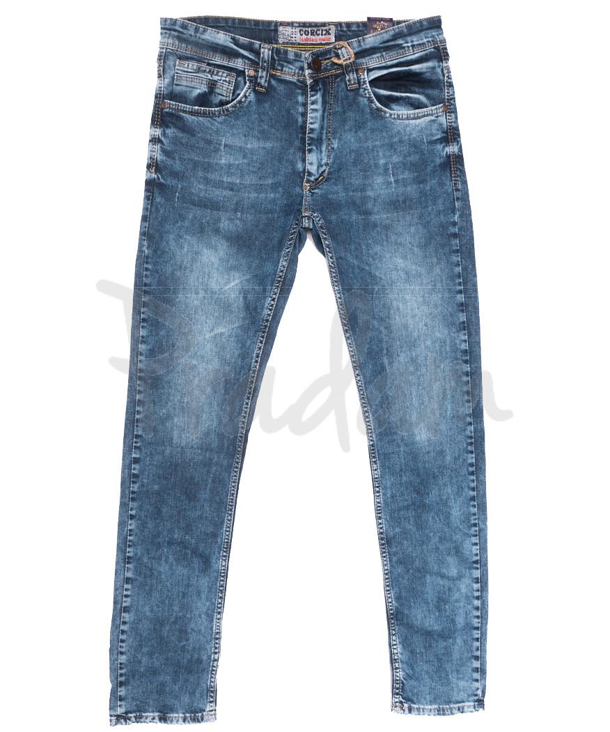 6713 Corcix джинсы мужские c царапками синие весенние стрейчевые (29-36, 8 ед.)