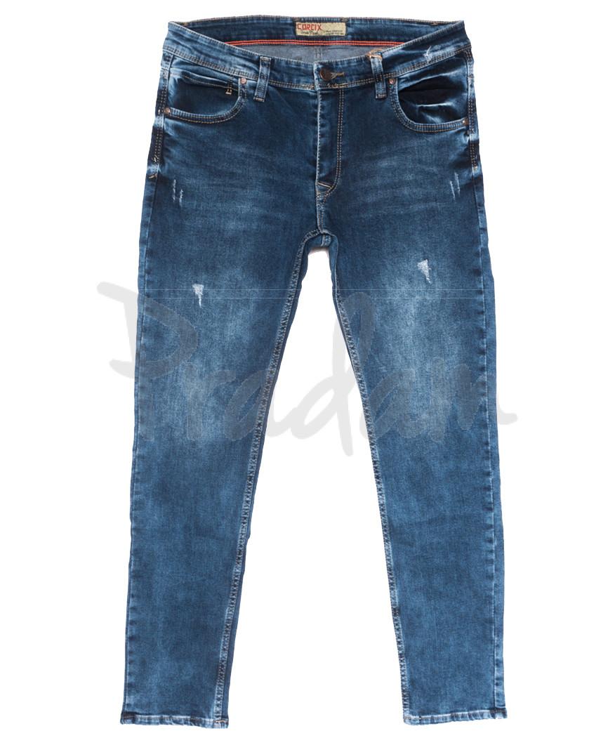 6891 Corcix джинсы мужские полубатальные c царапками синие весенние стрейчевые (32-40, 8 ед.)