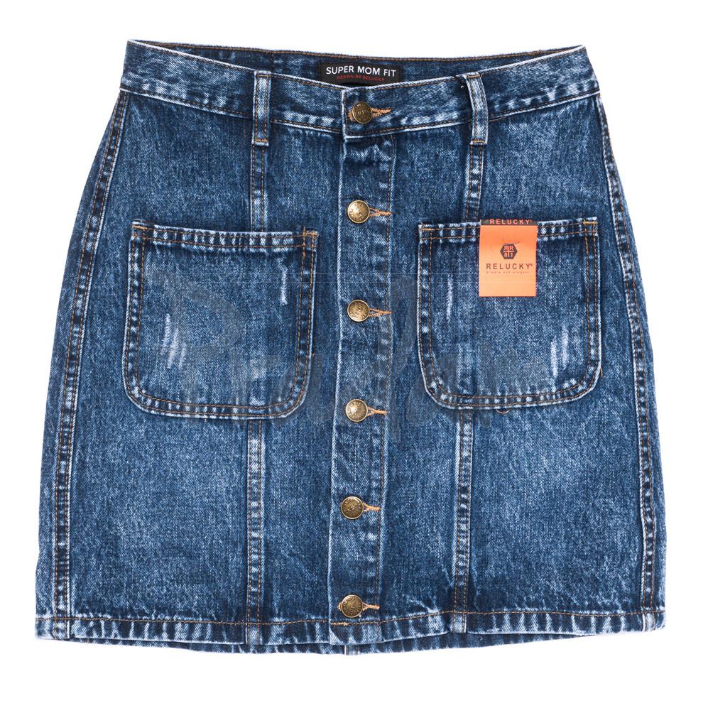 0445-1 V Relucky юбка джинсовая на пуговицах синяя осенняя коттоновая (25-30, 6 ед.)