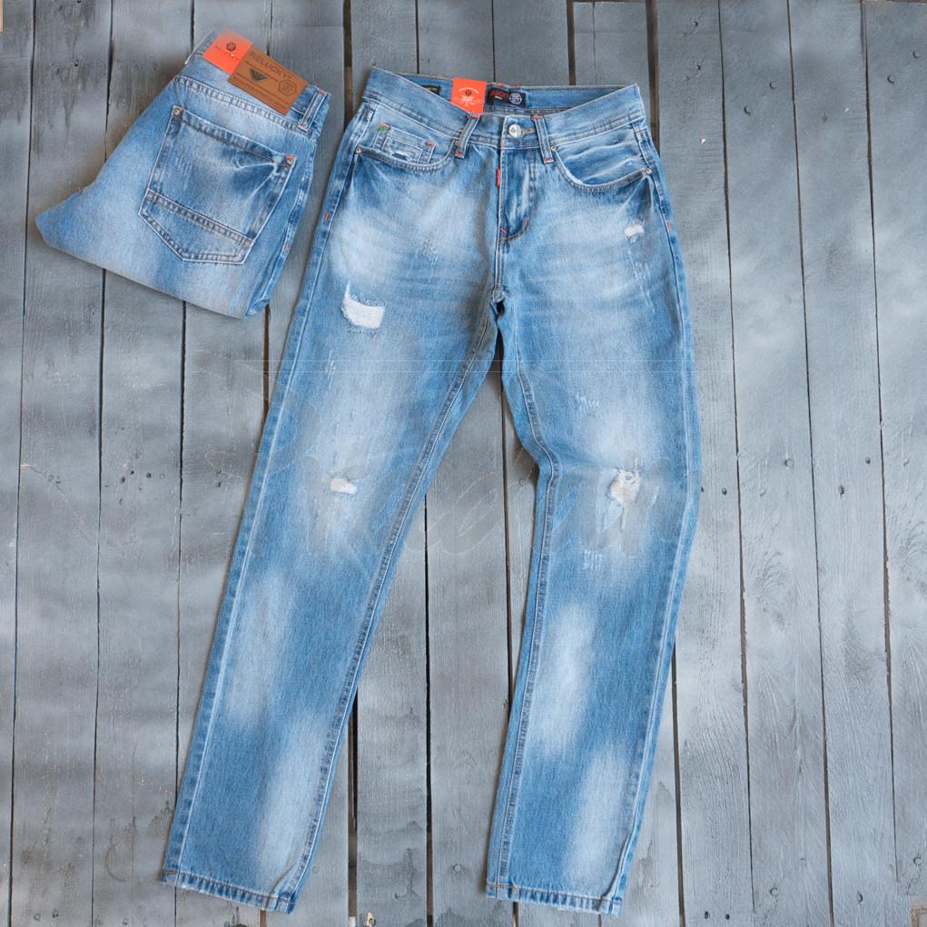 9901-3 R Relucky джинсы мужские с царапками голубые весенние стрейчевые (29-38, 8 ед.)