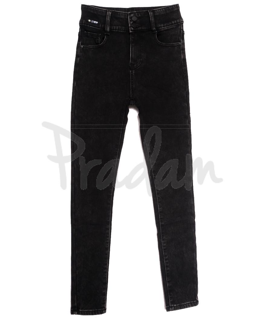 0585 New Jeans джинсы женские на флисе черные зимние стрейчевые (25-30, 6 ед.)