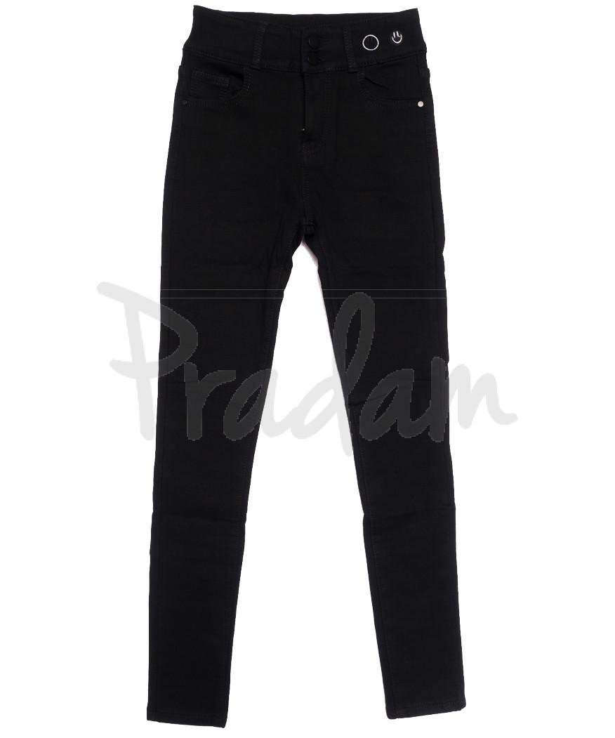 0572 New Jeans американка на флисе черная зимняя стрейчевая (25-30, 6 ед.)