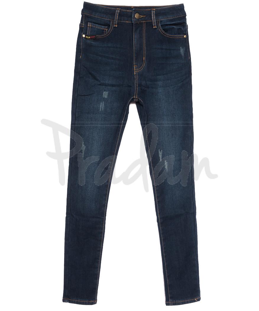 0593 New Jeans американка полубатальная на флисе с царапками синяя зимняя стрейчевая (28-33, 6 ед.)