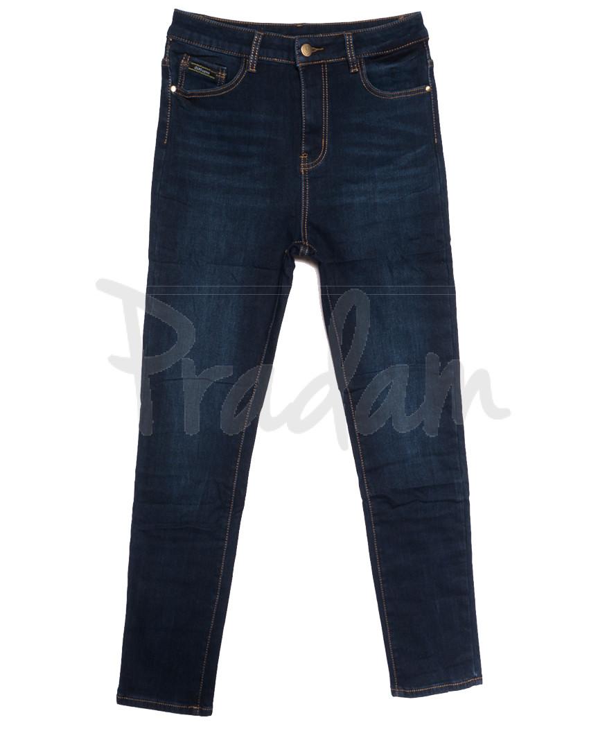 0596 New Jeans американка батальная на флисе синяя зимняя стрейчевая (31-36, 6 ед.)