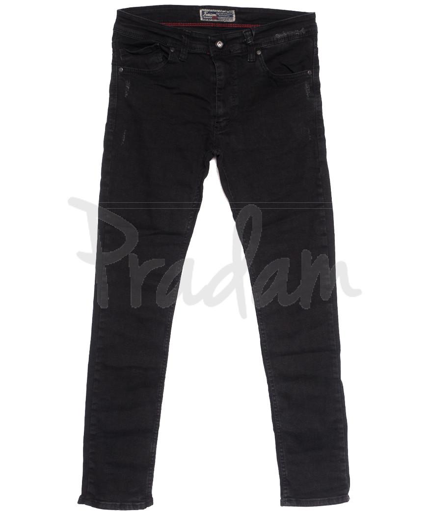 7179 Fashion Red джинсы мужские полубатальные с царапками темно-серые осенние стрейчевые (32-40, 8 ед.)