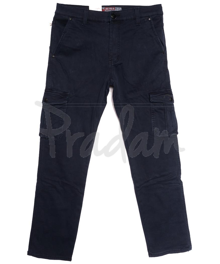 8392 Reman брюки карго мужские полубатальные на флисе темно-синие зимние стрейчевые (32-42, 8 ед.)