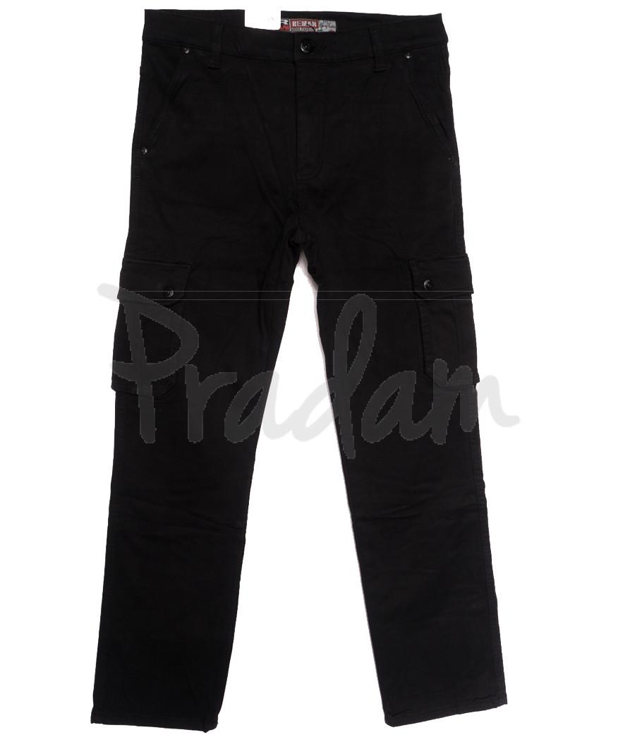 8391 Reman брюки карго мужские полубатальные на флисе черные зимние стрейчевые (32-42, 8 ед.)