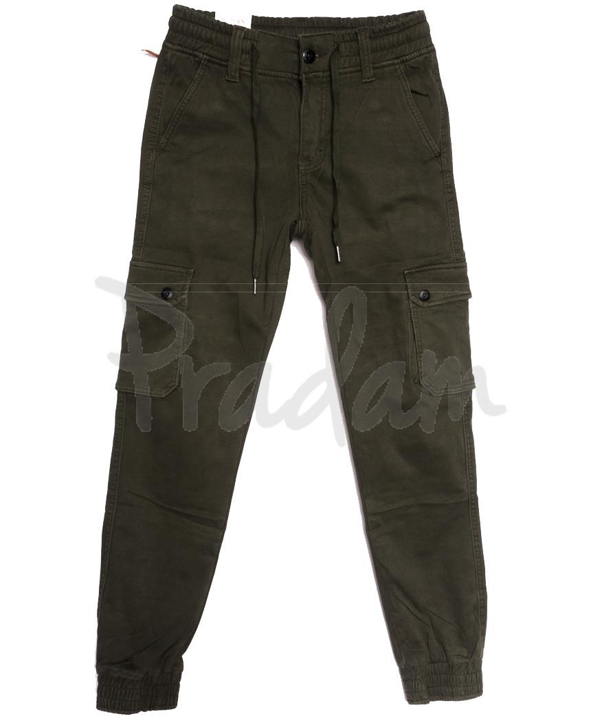 8387 Reman брюки карго мужские молодежные на флисе хаки зимние стрейчевые (28-36, 8 ед.)