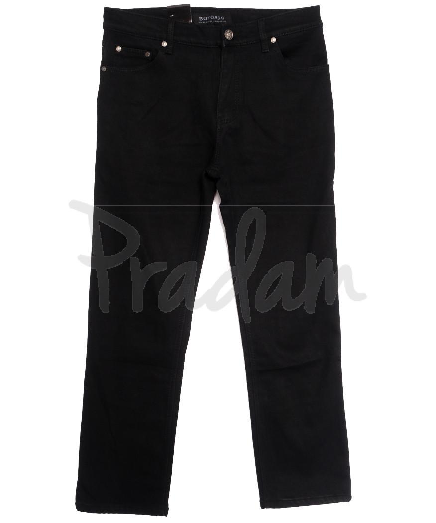 0201-1 Botoass джинсы мужские полубатальные на флисе черные зимние стрейчевые (32-42, 8 ед.)