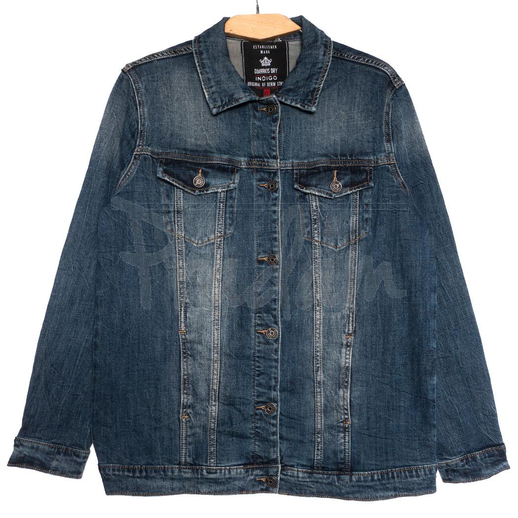 3051 Dimarkis Day куртка джинсовая женская батальная синяя осенняя стрейчевая (XL-6Xl, 6 ед.)