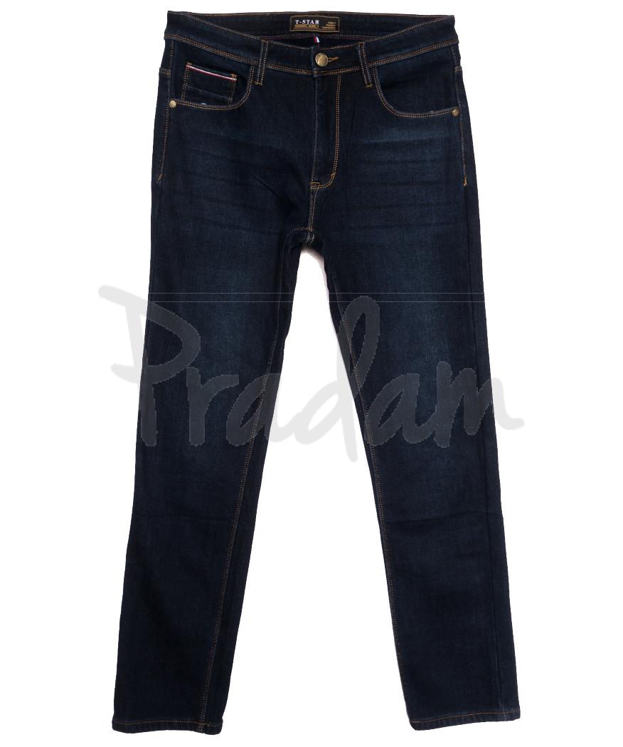 06999 T-Star джинсы мужские полубатальные на флисе темно-синие зимние стрейчевые (32-40, 8 ед.)
