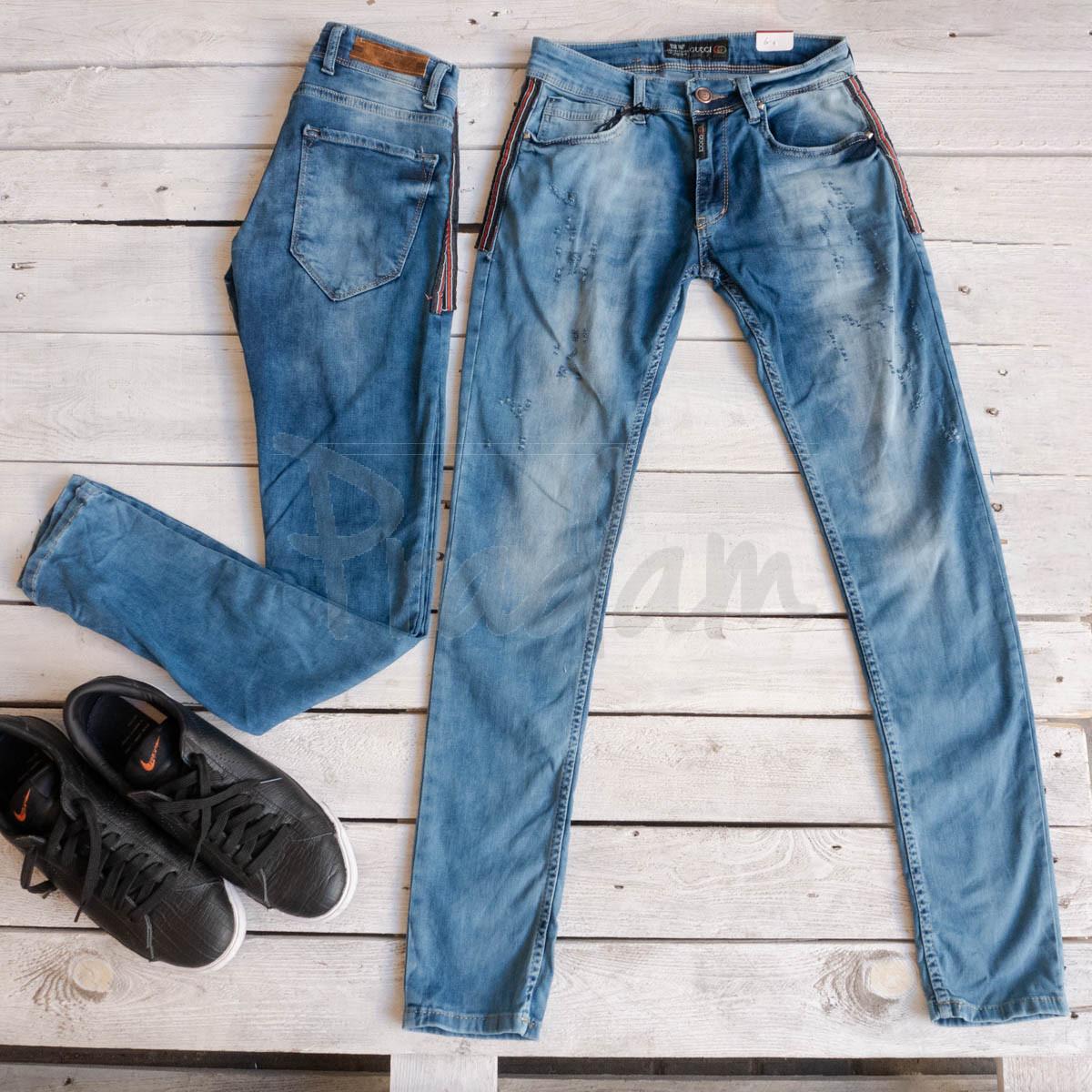 0164 Exclusive джинсы мужские голубые стрейчевые (8 ед. размеры: 29.30.31.32.32.33.34.36)