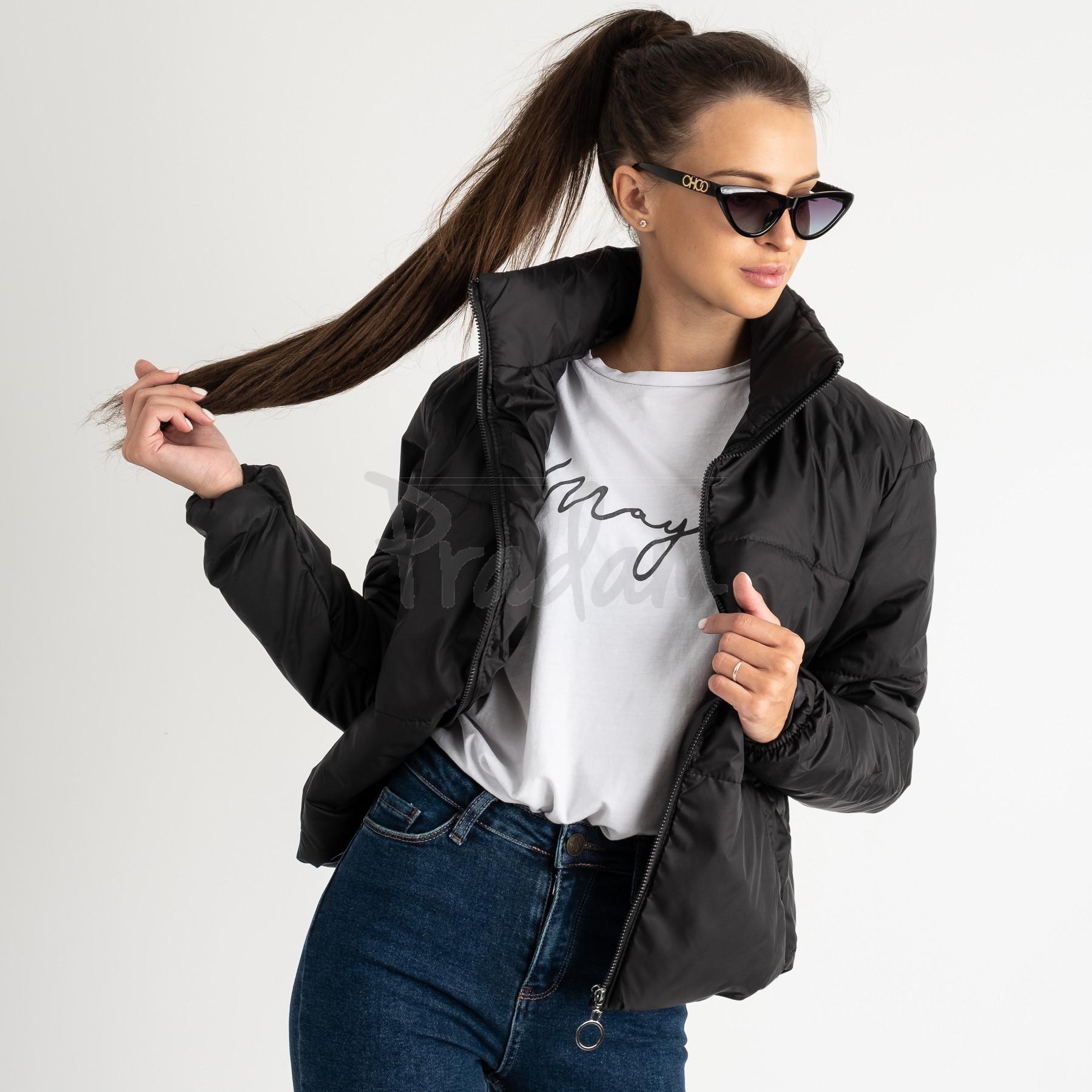 0410-1 черная куртка женская на синтепоне ( 3 ед. размеры : 42.44.46)