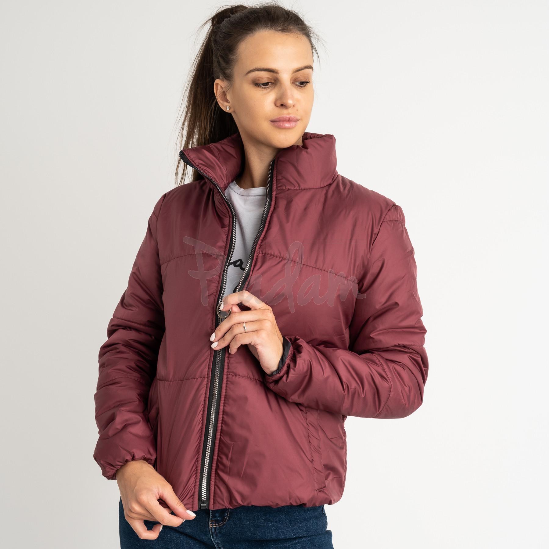 0410-5 бордовая куртка женская на синтепоне ( 3 ед. размеры : 42.44.46)