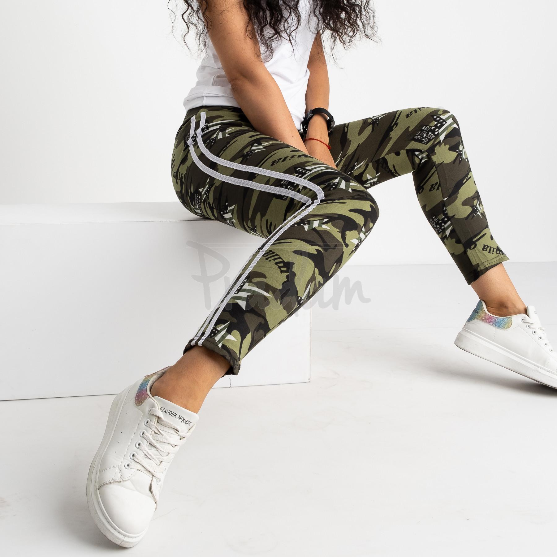 0902 Li Ruo Ya спортивные брюки женские камуфляжные на флисе (5 ед. размер: универсал  44-48)