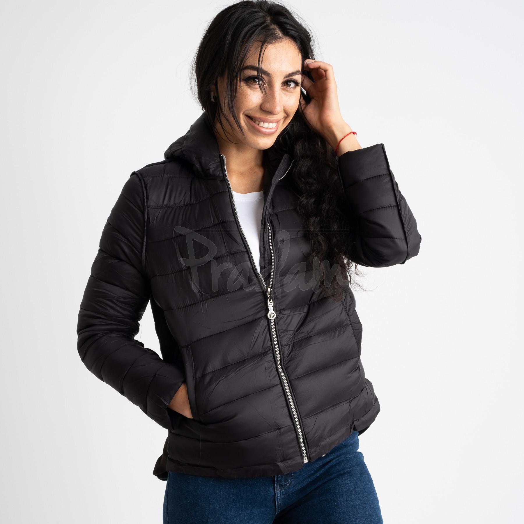 7021-1 куртка женская черная на синтепоне (5 ед. размеры: L-3XL)