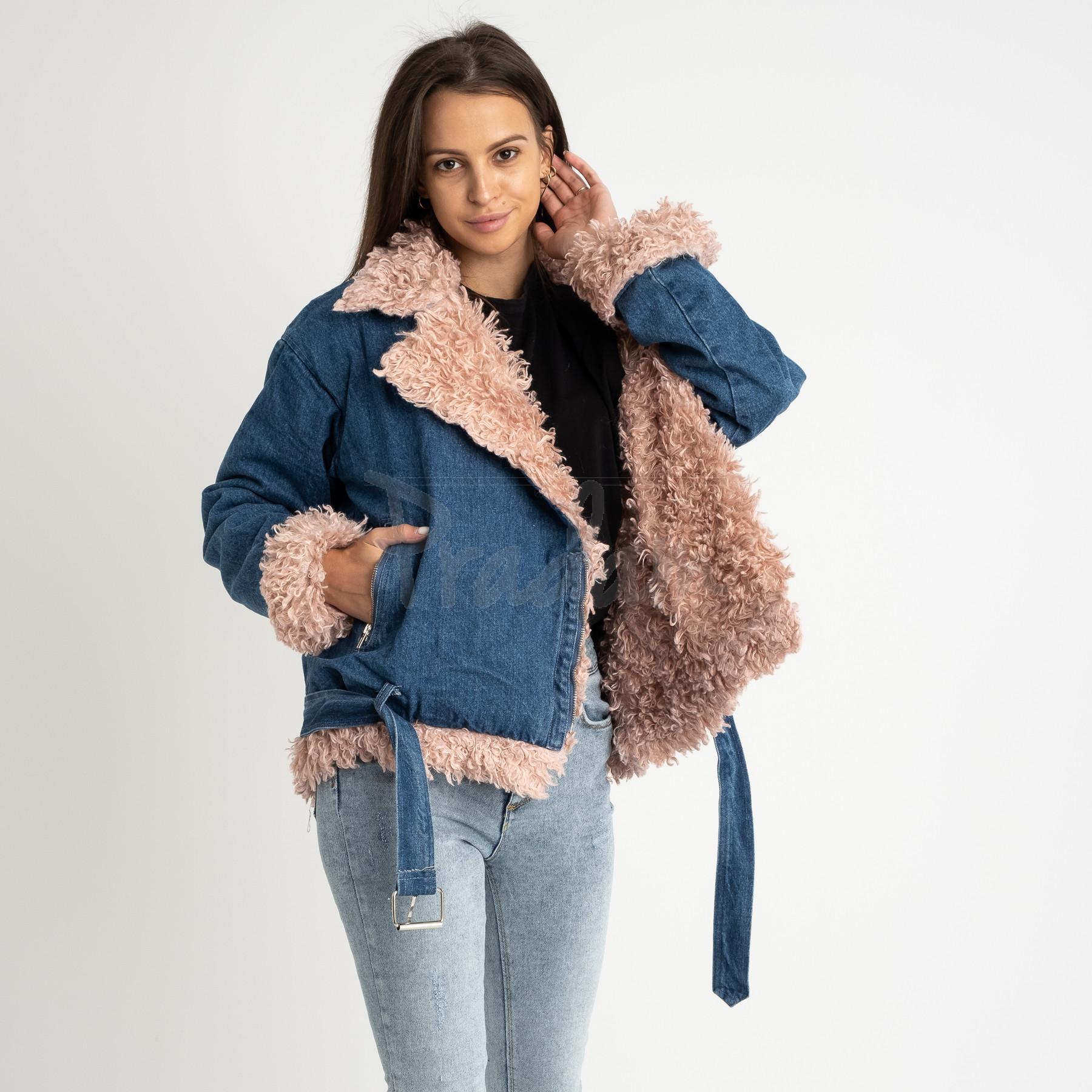 0868-01 куртка женская джинсовая с розовым мехом (1 ед.размер: M)