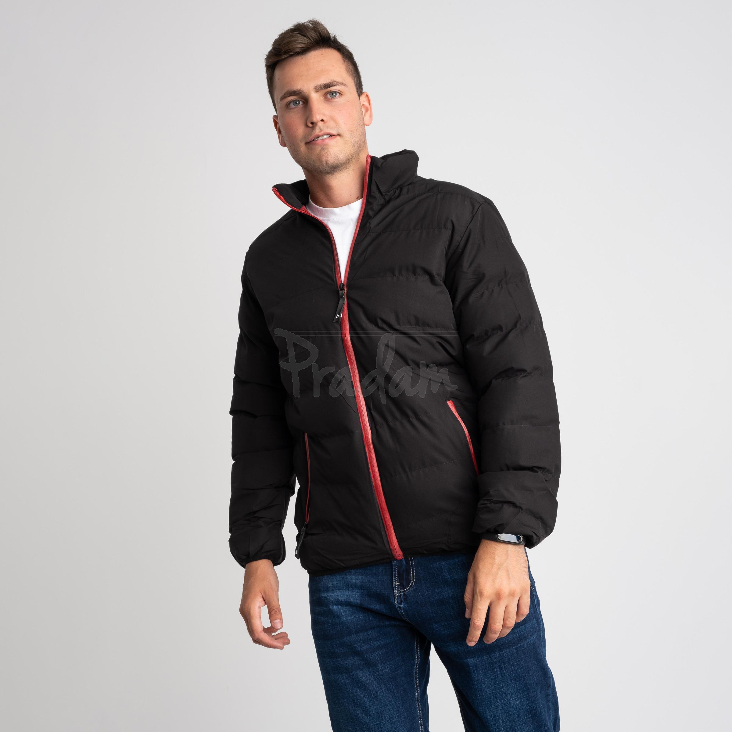 8088-1 черная куртка полубатальная мужская на синтепоне (6 ед .размеры : L-5XL)