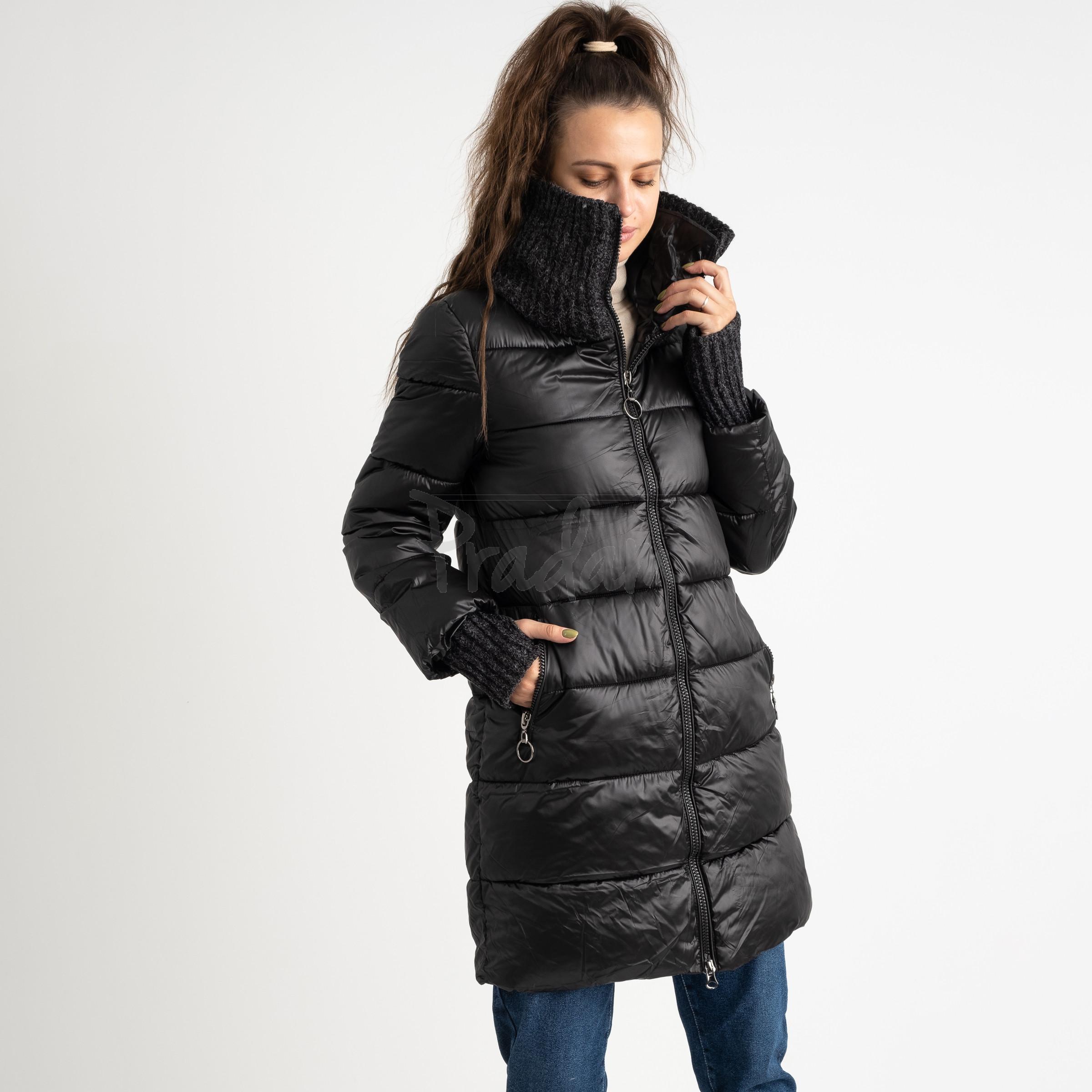 8802-1 черная куртка женская на синтепоне (4 ед.размеры: M.L.XL.XXL)