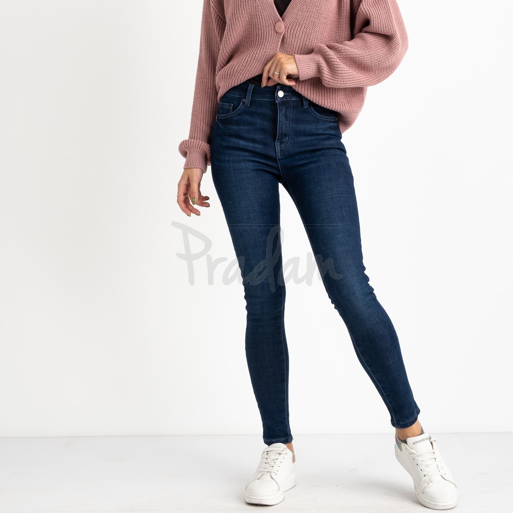 6020 New Jeans американка на флисе синяя стрейчевая (6 ед.размеры: 25.26.27.28.29.30)