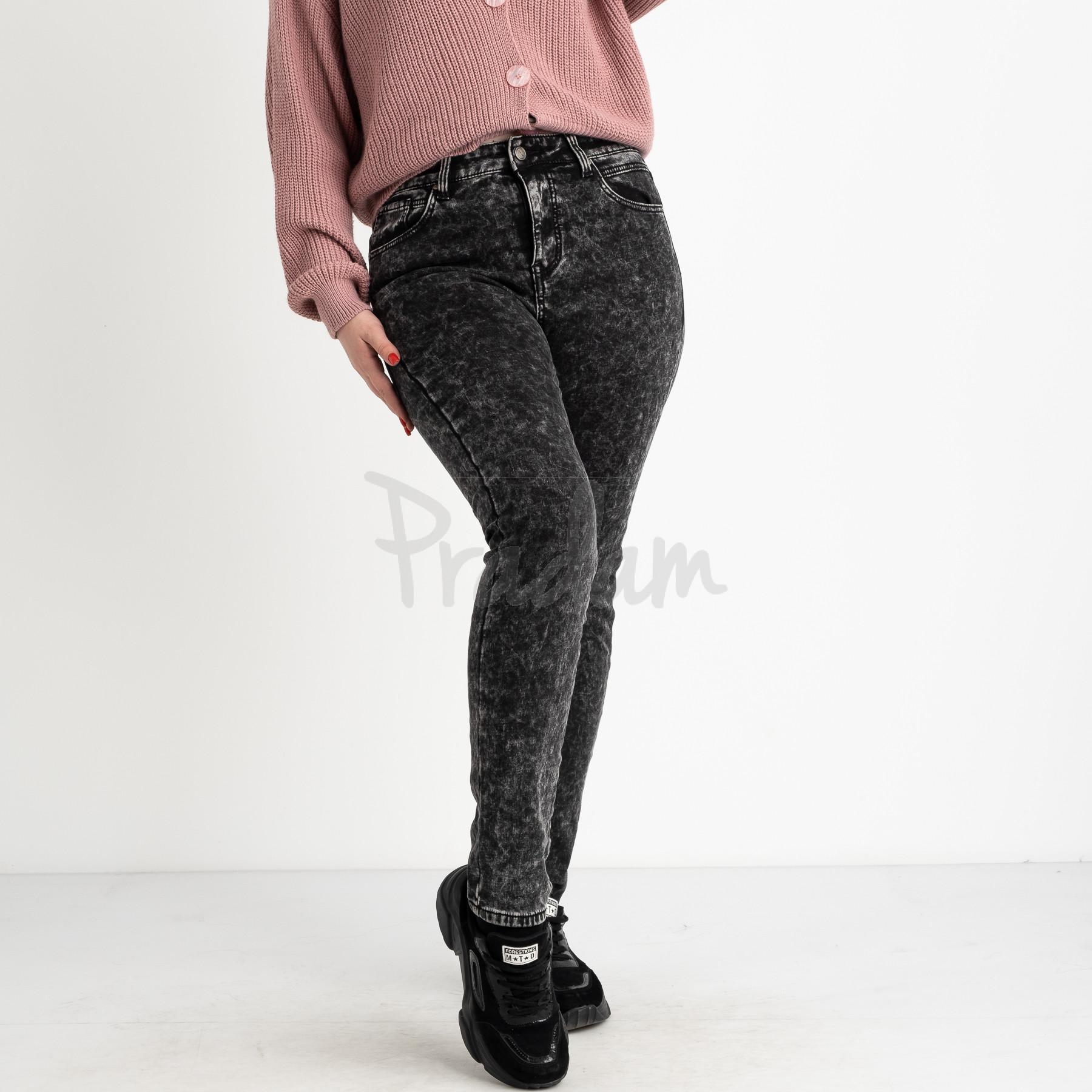 6025 New Jeans американка на флисе батальная серая стрейчевая (6 ед.размеры: 31.32.33.34.35.36)
