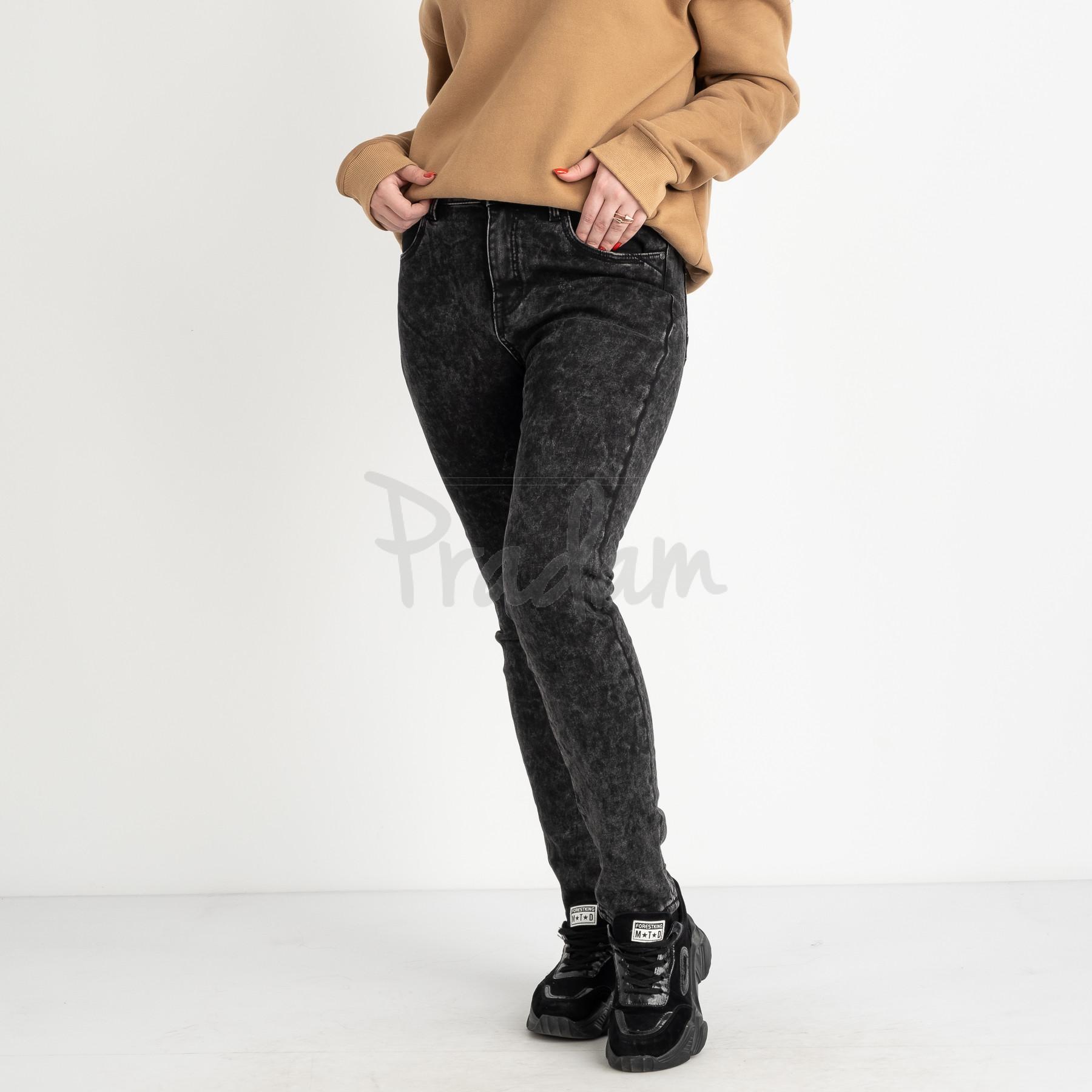 6026 New Jeans американка на флисе полубатальная серая стрейчевая (6 ед.размеры: 28.29.30.31.32.33)