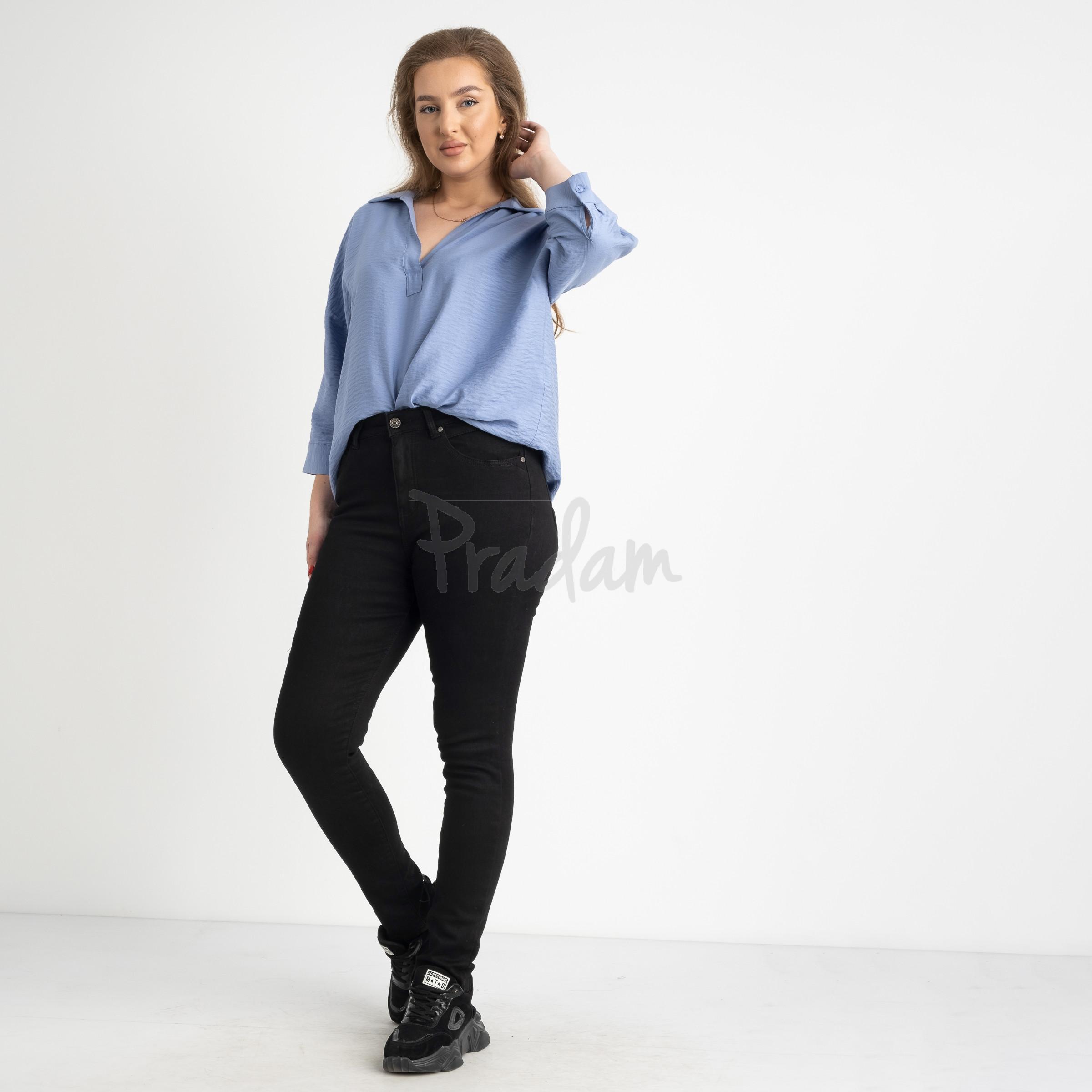 6035 New Jeans американка на флисе полубатальная черная  стрейчевая (6 ед.размеры: 28.29.30.31.32.33)