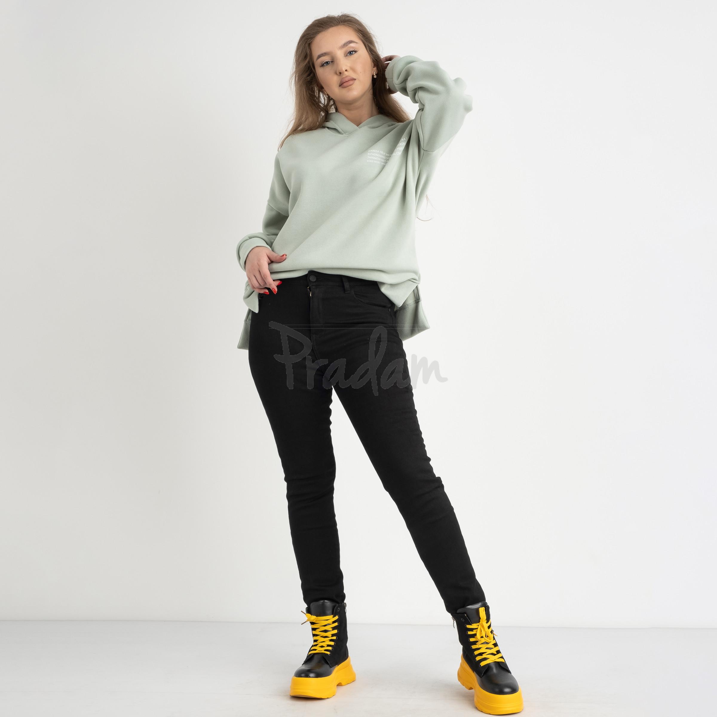 6032 New Jeans американка черная полубатальная стрейчевая на байке (6 ед.размеры: 28.29.30.31.32.33)