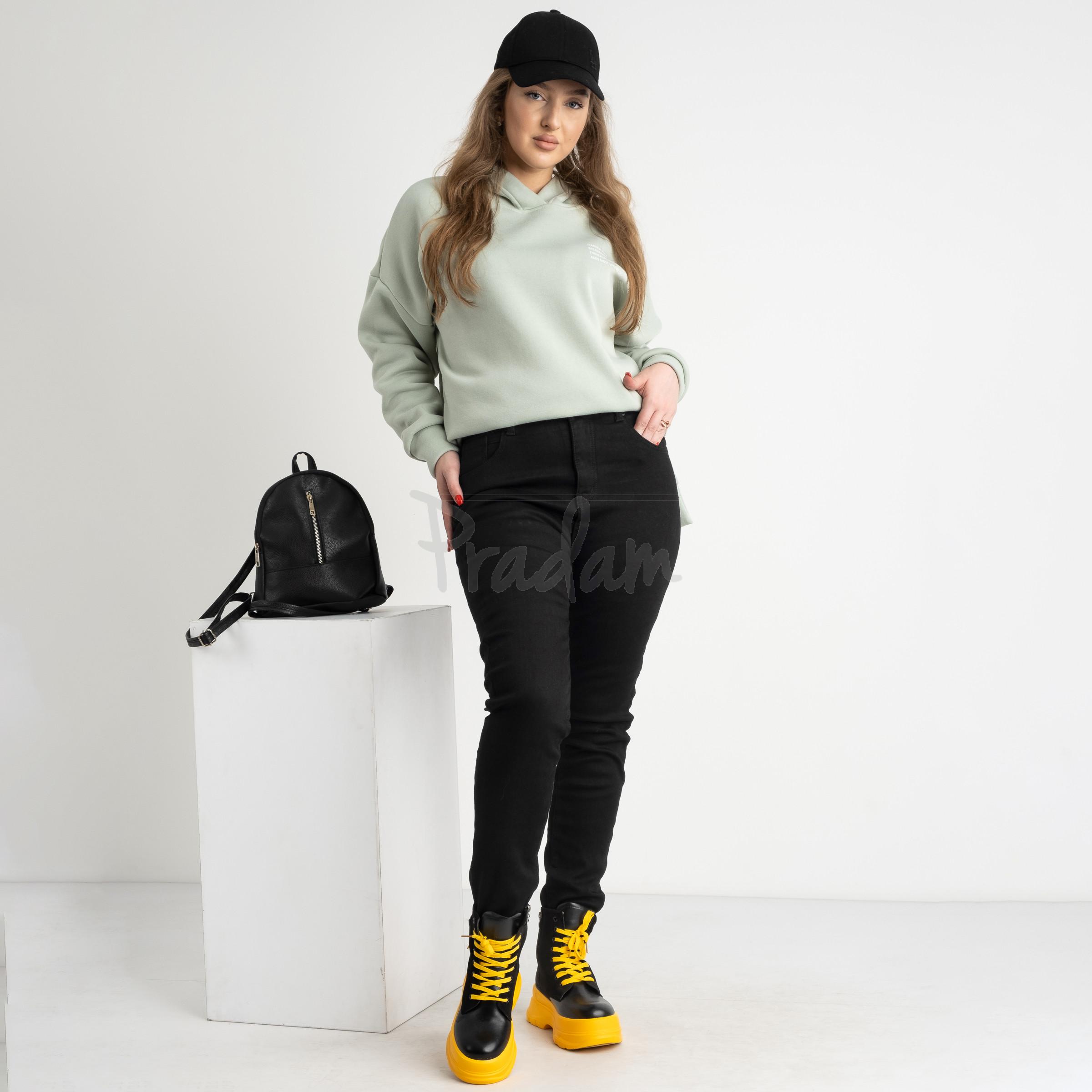 6034 New Jeans американка на флисе батальная черная стрейчевая (6 ед.размеры: 31.32.33.34.35.36)